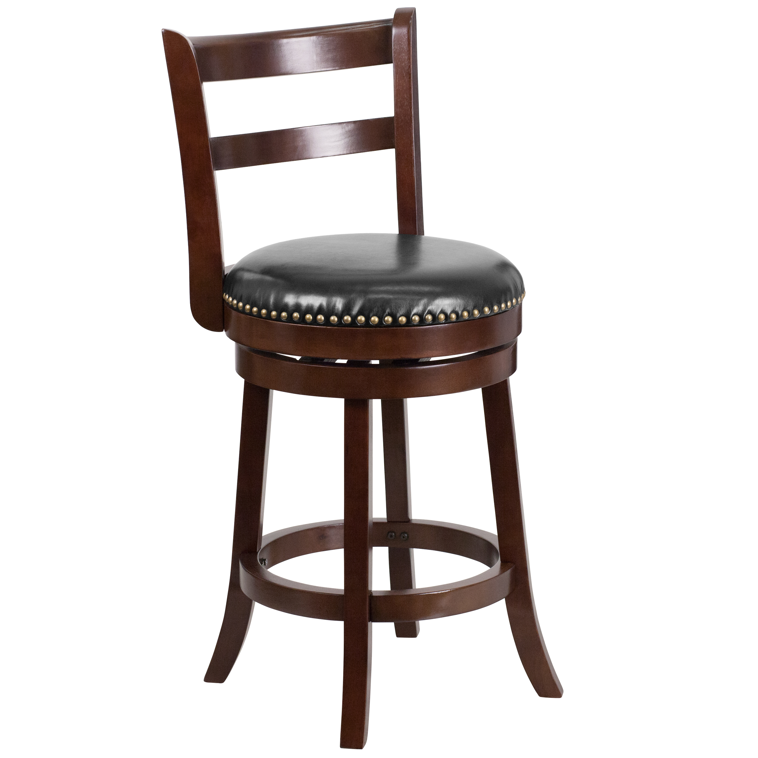 26 Cappuccino Wood Counter Height Stool With Black